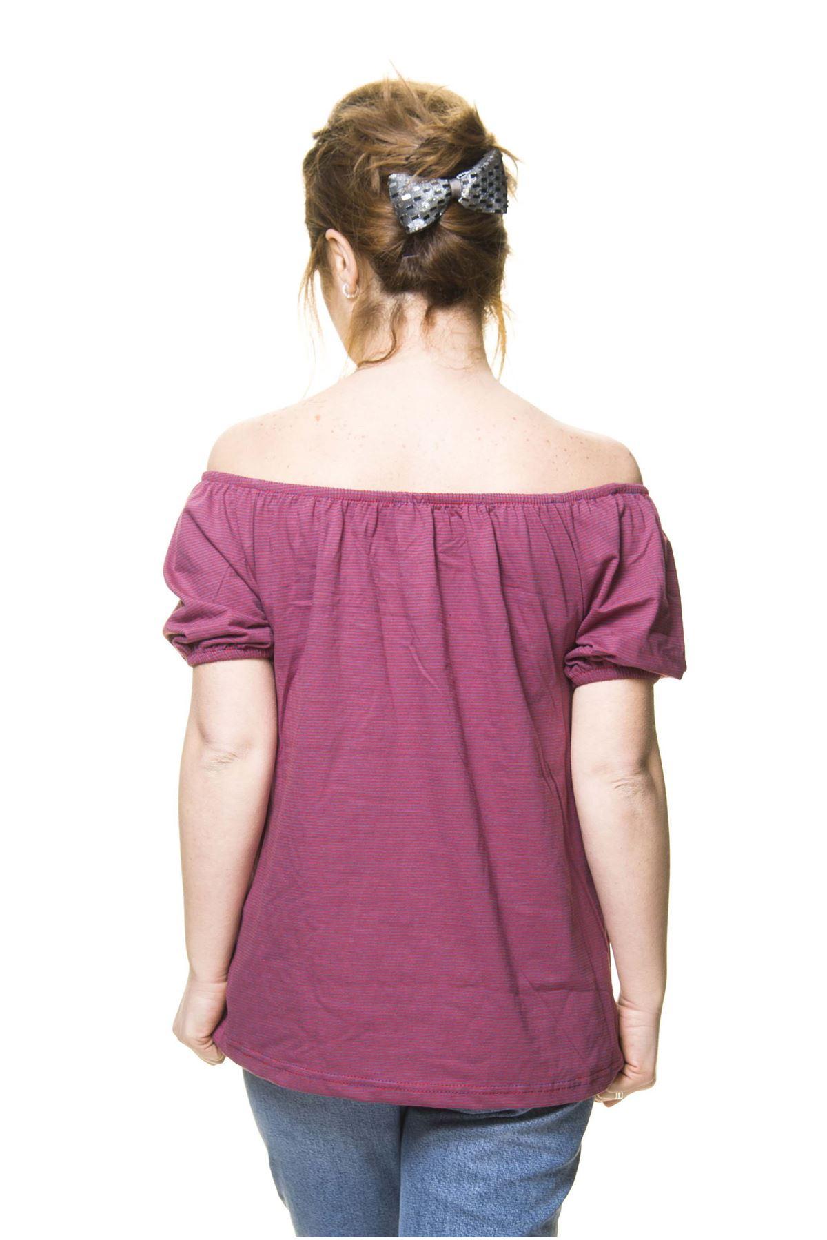 Kadın Mürdüm Pamuklu Penye Bluz 5D-30441