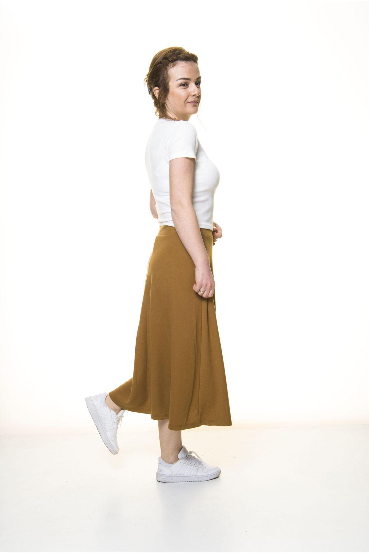 Kadın Hardal Penye Esnek Etek  11C-3050