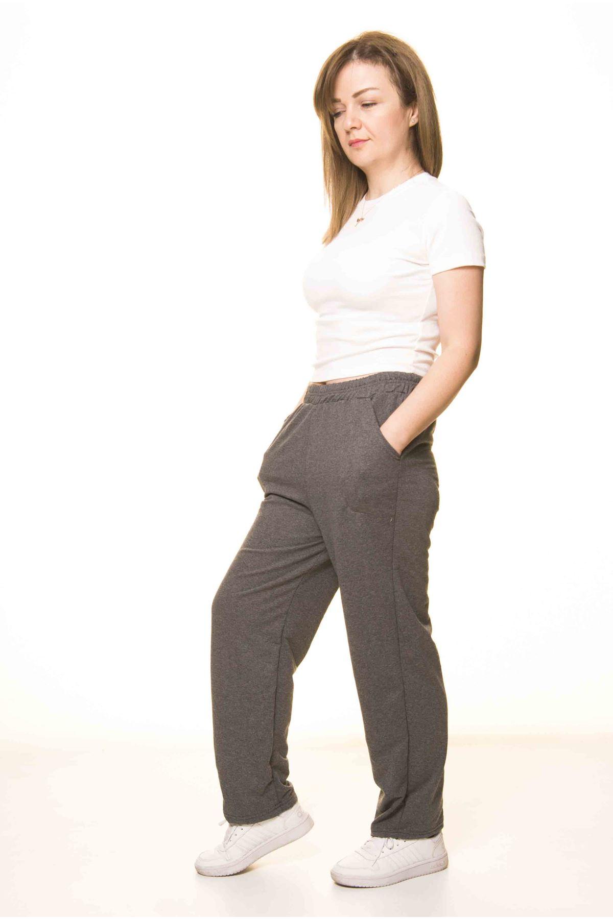 Kadın Antrasit Normal Paça  Eşofman Altı 5D-3078