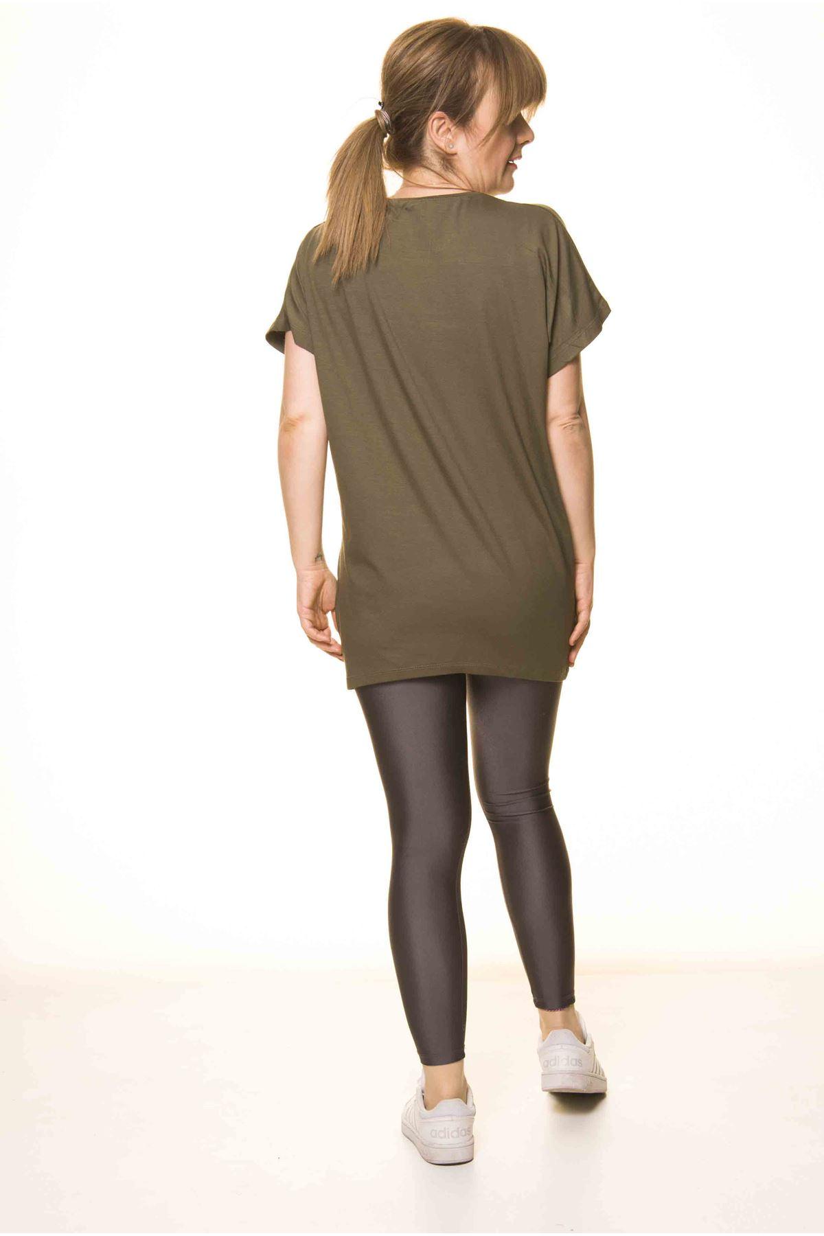 Kadın Haki Taş İşlemeli Bluz 14D-30623