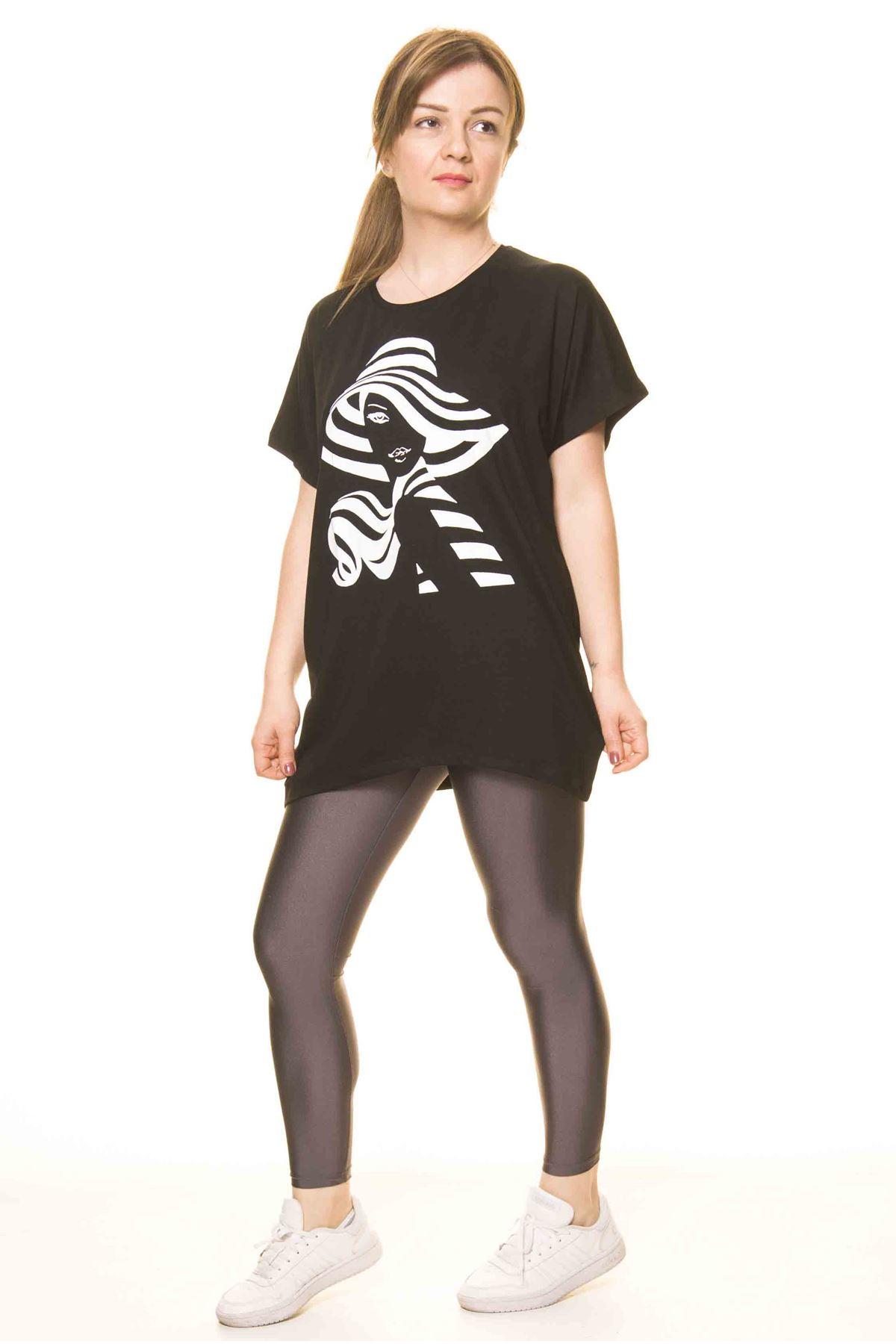 Kadın Siyah Baskılı Bluz 14D-3065-1