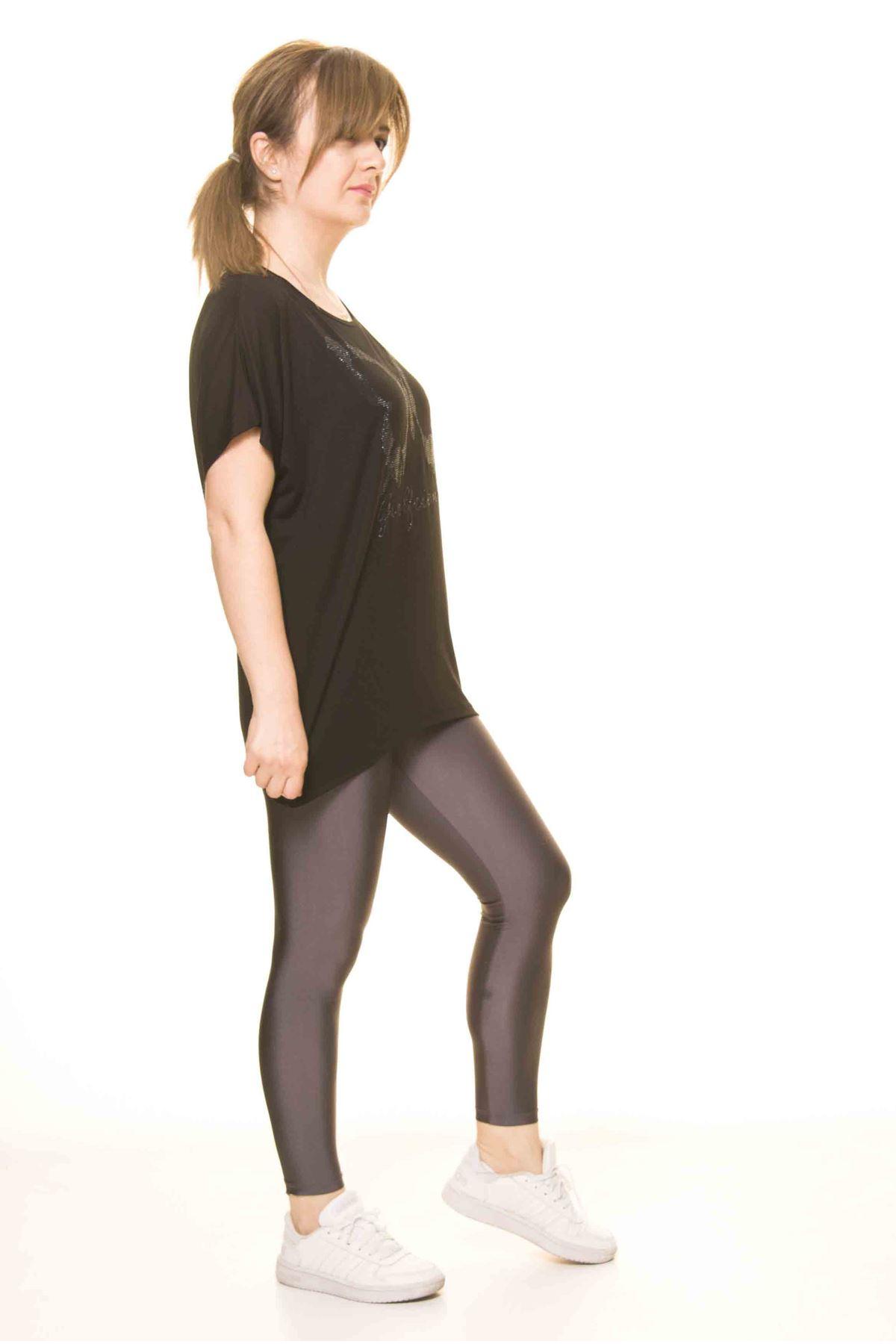 Kadın Siyah Kelebek Baskılı Bluz 14D-3066-1