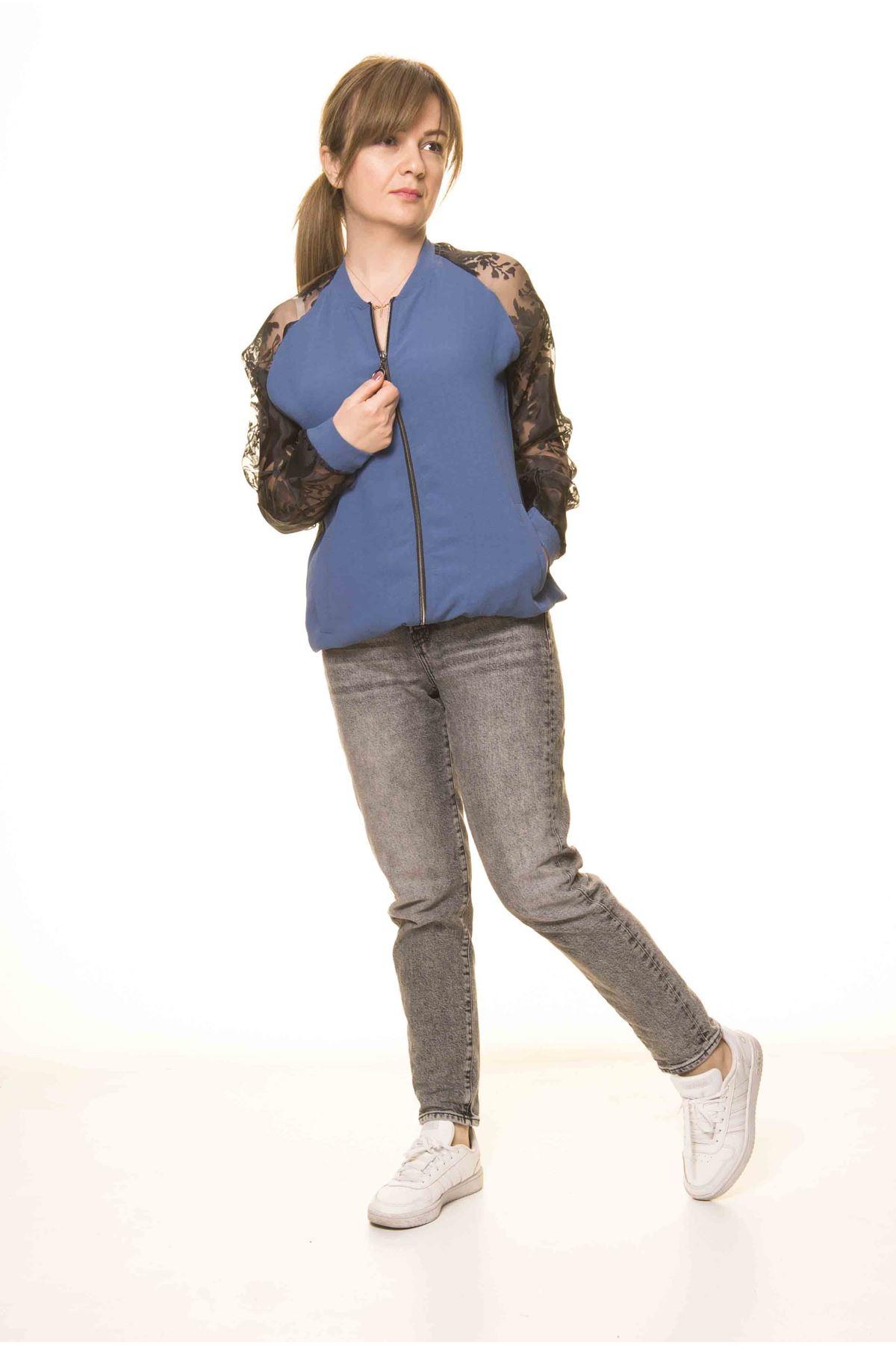 Kadın Mavi Siyah Tarz Tül Kol Spor İnce Mont  A1-3080