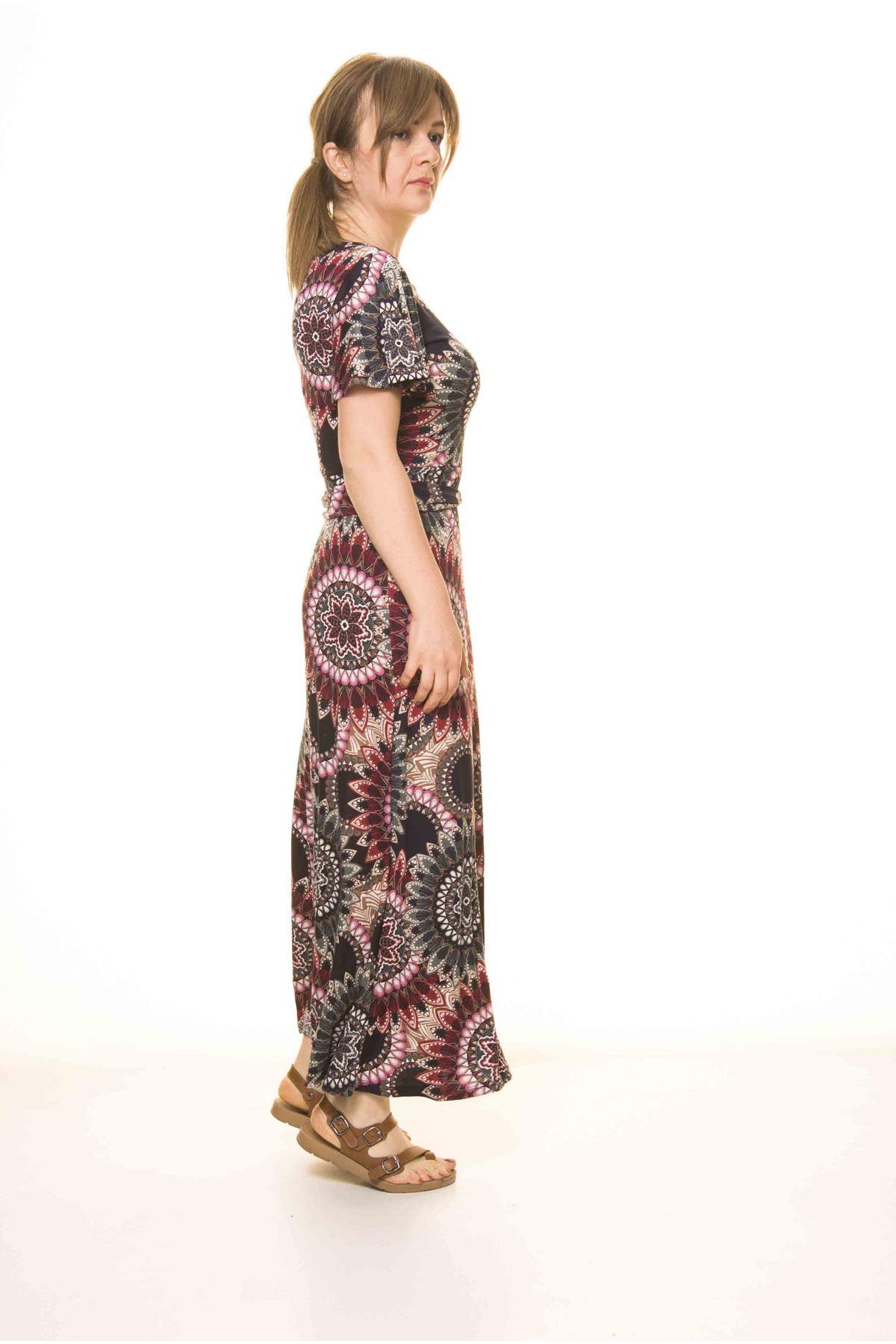 Kadın Etnik Desenli Esnek Elbise 17D-3074