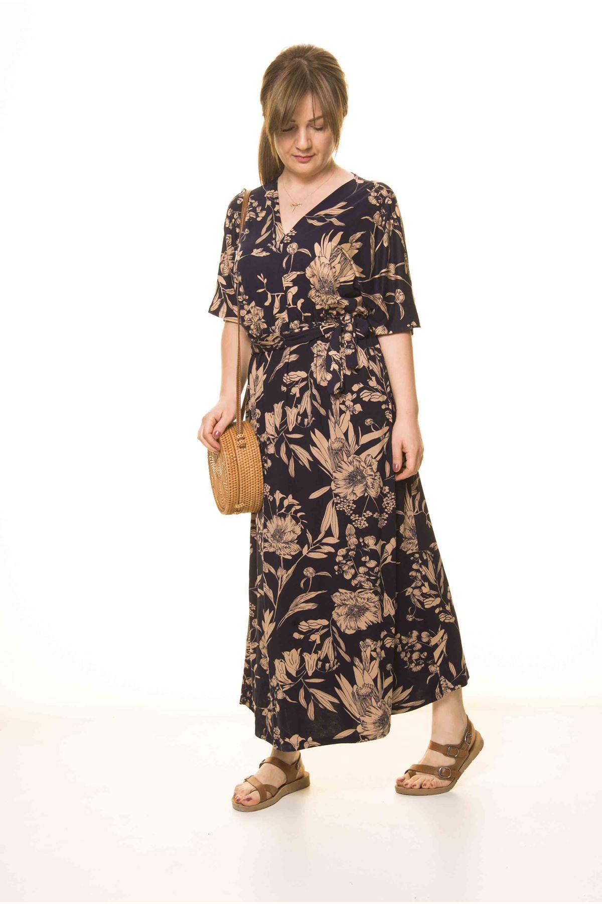 Kadın Lacivert V Yaka Beli Büzgülü Kuşaklı Salaş Elbise 17D-3076