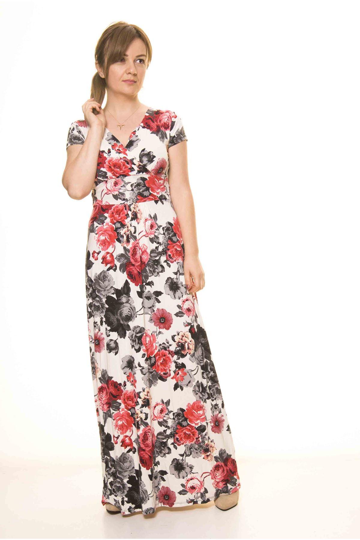 Kadın Kruvaze Yaka Desenli Uzun Elbise 17D-3075