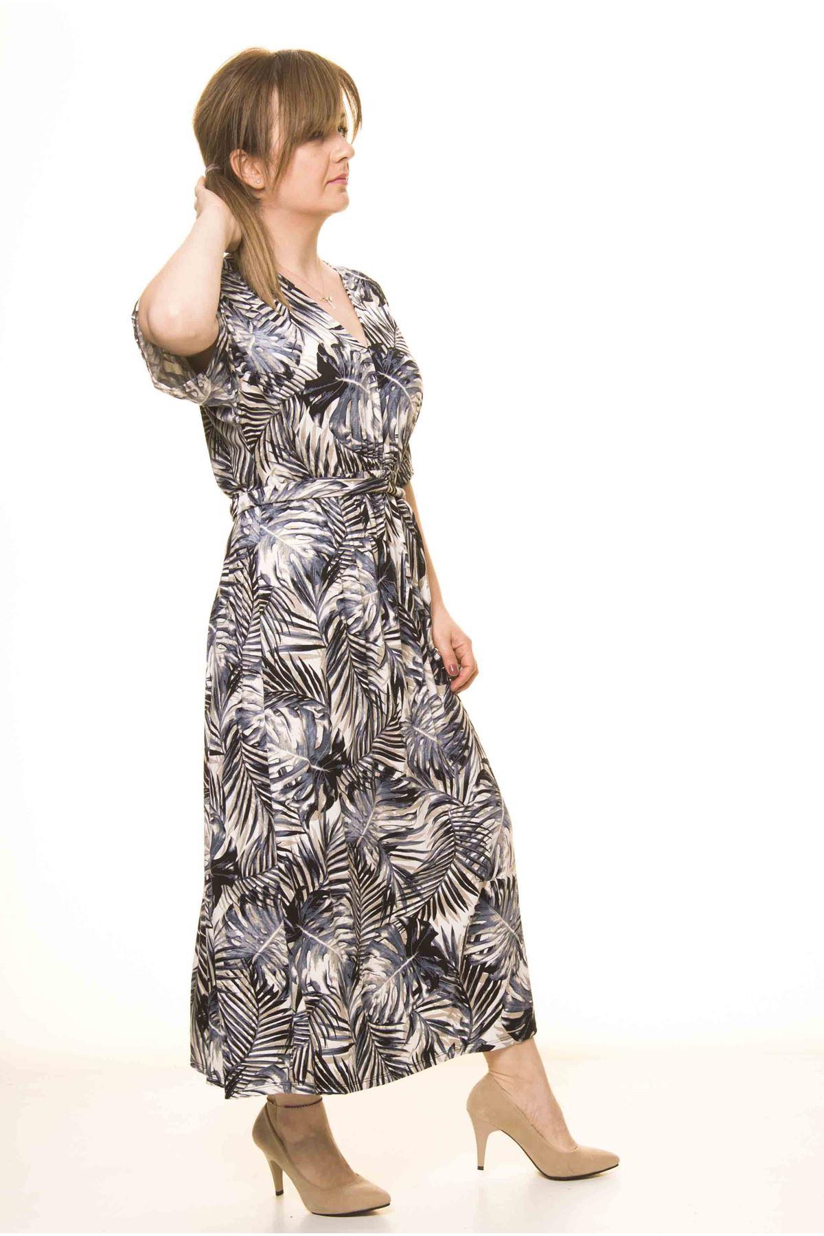 Kadın  V Yaka Beli Büzgülü Kuşaklı Salaş Elbise 17D-3072